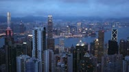 Stock Video Footage of Dusk Aerial View of Hong Kong Island Skyline, Victoria Harbour, Kowloon Twilight