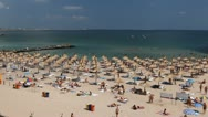 Beautiful Crowded Beach, People Swimming, Tanning, Water Sports, time lapse Stock Footage