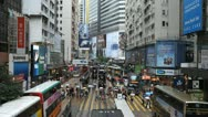 Stock Video Footage of Causeway Bay, Shopping Area, Car, Bus Traffic, Hong Kong Crowds Rush Hour