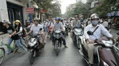 Busy street in Hanoi (near Ho Kiem Lake). Vietnam. Stock Footage