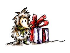 little hedgehog for christmas - stock illustration