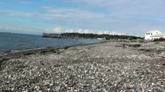 Point Roberts Beach Pier Stock Footage