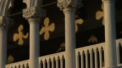Gothic architectural detail on the Palazzo Ducale (Doge's Palace.) Stock Footage