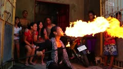Gay fire breather Stock Footage