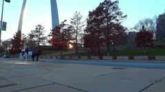 St Louis Arch and Buggy 2 HD Horse and White Carriage at Sunset Stock Footage