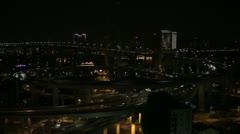 Night Aerial View of Shanghai, Nanpu Bridge Interchange Huangpu River time lapse Stock Footage