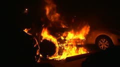 Burning Car Fire Stock Footage