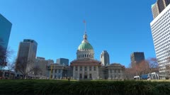 St Louis Court House 1 HD Downtown Blue Sky and Bright Color Stock Footage