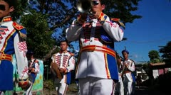 Band members on parade - stock footage