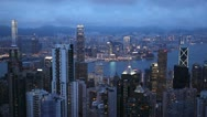 Stock Video Footage of Panoramic Dusk Aerial View Hong Kong Island Skyline, Victoria Harbour time lapse