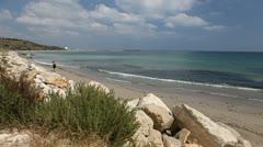 Beach near the hotel, black sea, sunny day, summer vacation Stock Footage