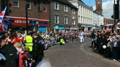 Olympic torch, Newbury, two Stock Footage