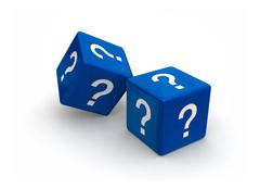 blue question dice - stock photo