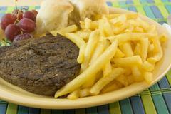 sirloin steak and fries - stock photo