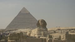 History & culture, Egypt pyramid and the sphinx, medium shot Stock Footage