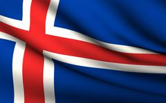 Flying flag of iceland . all countries collection . Stock Illustration