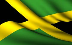 flying flag of jamaica . all countries collection . - stock illustration