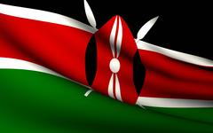 flying flag of kenya . all countries collection . - stock illustration