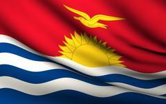 Flying flag of kiribati . all countries collection . Stock Illustration