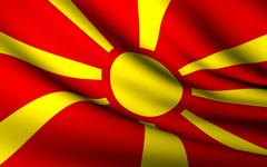flying flag of macedonia . all countries collection . - stock illustration