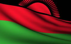 Stock Illustration of flying flag of malawi . all countries collection .