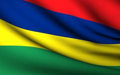 Stock Illustration of flying flag of mauritius . all countries collection .