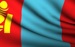 flying flag of mongolia . all countries collection . - stock illustration