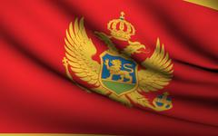 Flying flag of montenegro . all countries collection . Stock Illustration