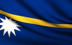 flying flag of nauru . all countries collection . - stock illustration