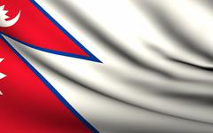 flying flag of nepal . all countries collection . - stock illustration