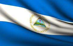 Stock Illustration of flying flag of nicaragua . all countries collection .