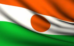flying flag of niger . all countries collection . - stock illustration