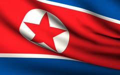 flying flag of north korea . all countries collection . - stock illustration