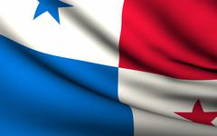 flying flag of panama . all countries collection . - stock illustration