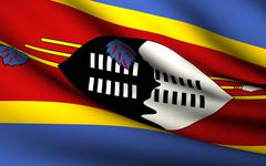 flying flag of swaziland . all countries collection . - stock illustration