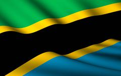 flying flag of tanzania . all countries collection . - stock illustration