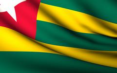 Flying flag of togo . all countries collection . Stock Illustration