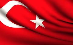 flying flag of turkey . all countries collection . - stock illustration