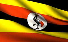 flying flag of uganda . all countries collection . - stock illustration