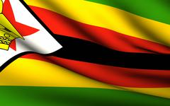 flying flag of zimbabwe . all countries collection . - stock illustration