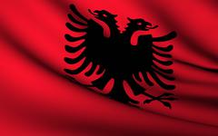 Stock Illustration of flying flag of albania . all countries collection .