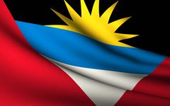 flying flag of antigua and barbuda . all countries collection . - stock illustration