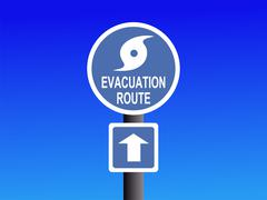 hurricane evacuation route sign on blue illustration - stock illustration