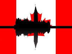 Canadian parliament with flag Stock Illustration