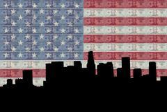 Los Angeles käteisellä ja lippu Piirros