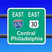 Freeway to philadelphia sign Stock Illustration