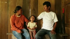 Native Quechua family dialog Stock Footage