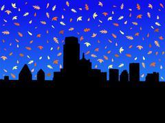 dallas skyline in autumn - stock illustration