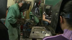 Arc Welding at Massachusetts Institute of Technology Students Stock Footage
