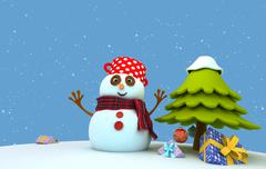 Snowman Gifts.jpg - stock illustration